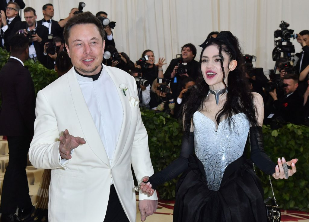Elon Musk and Grimes arrive for the 2018 Met Gala on May 7, 2018, at the Metropolitan Museum of Art