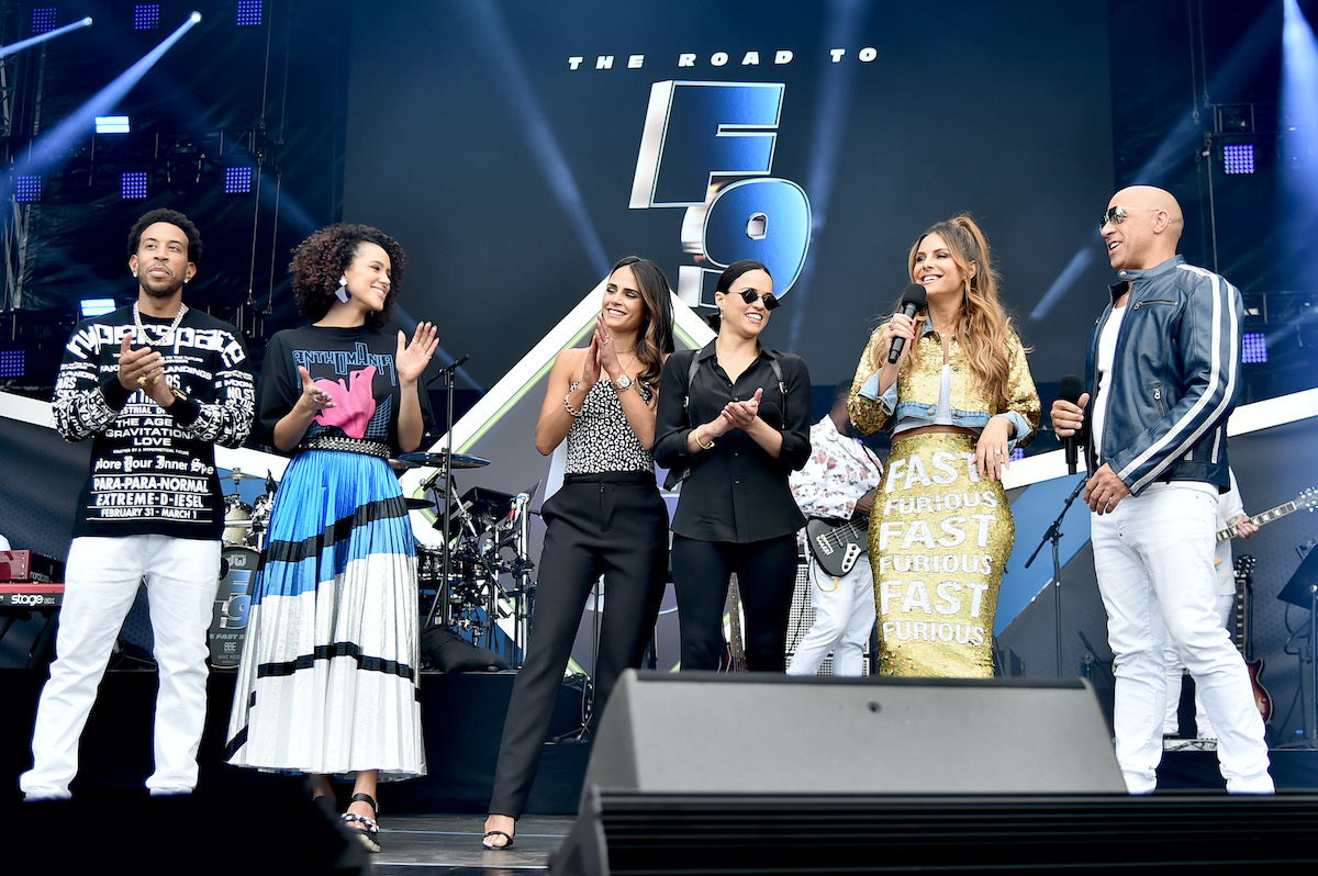 The cast of 'F9' with Maria Menounos