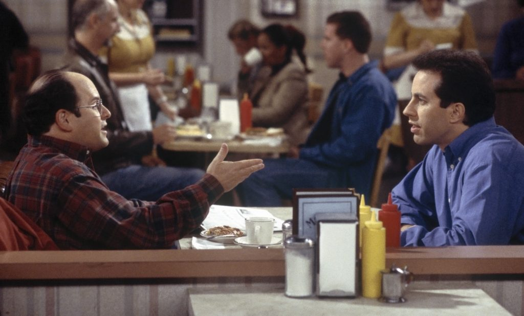 Jason Alexander and Jerry Seinfeld in a scene from 'Seinfeld'