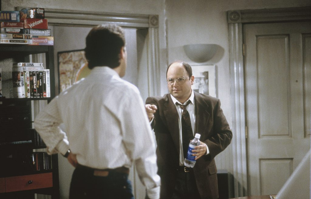 Jerry Seinfeld and Jason Alexander in a scene from 'Seinfeld'