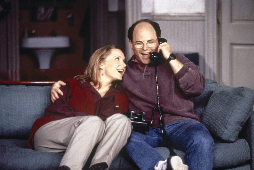 left to right: Heidi Swedberg as Susan Ross and Jason Alexander as George Costanza in a scene from 'Seinfeld'
