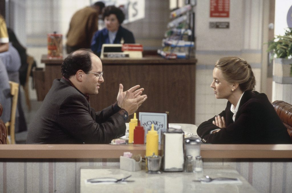 """""""George"""" and """"Susan"""" in a scene from 'Seinfeld'"""