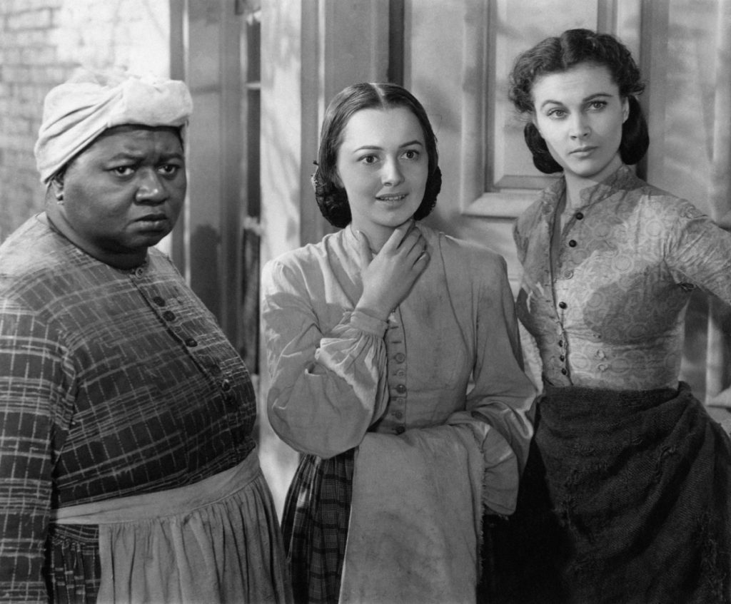 Olivia de Havilland (center) with Hattie McDaniel (left) and Vivian Leigh (right) in 'Gone With The Wind,' 1939