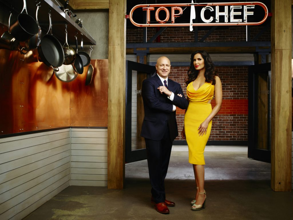Padma Lakshmi and Tom Colicchio of 'Top Chef'