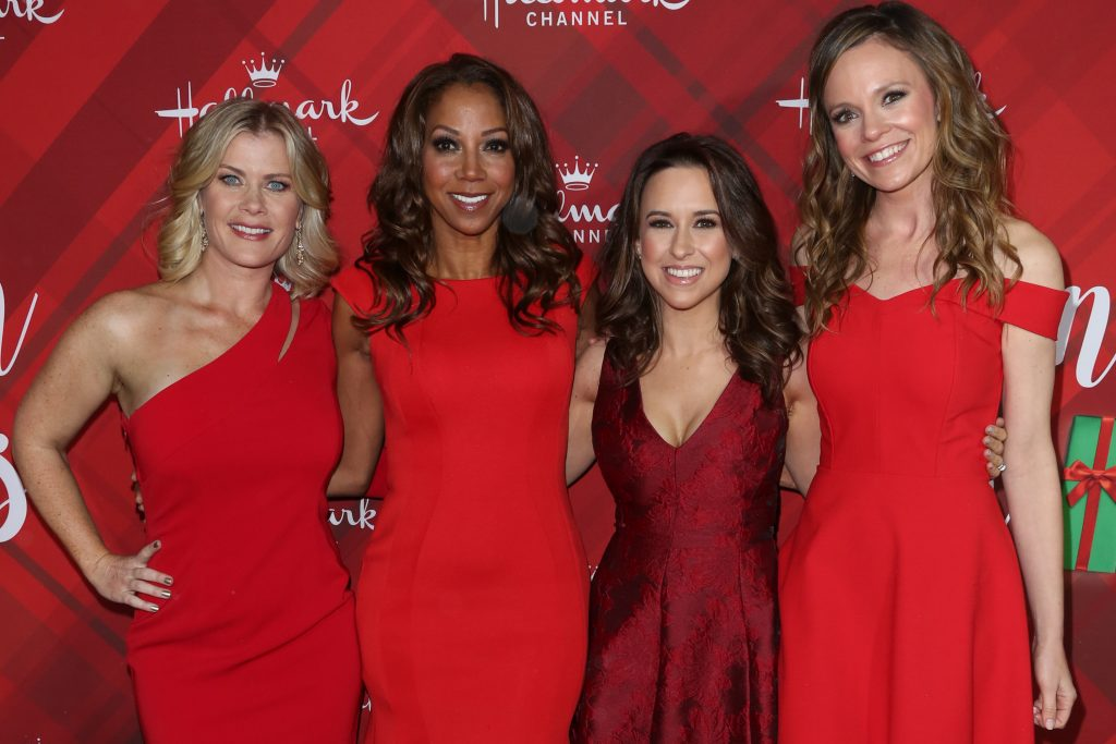 A few of the actors of Hallmark Christmas past and future: (left to right Alison Sweeney, Holly Robinson Peete, Lacey Chabert and Rachel Boston