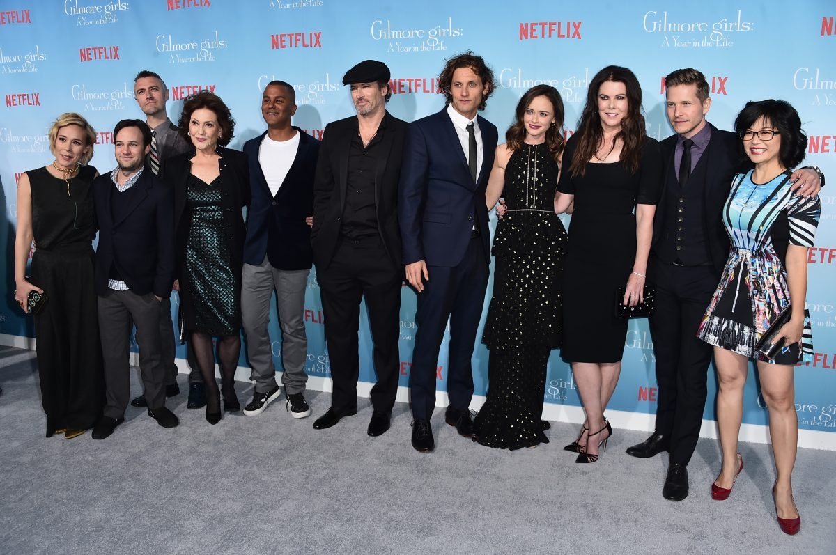 Liza Well, Danny Strong, Sean Gunn, Kelly Bishop, Yanic Truesdale, Scott Patterson, Tanc Sade, Alexis Bledel, Lauren Graham, Matt Czuchry and Keiko Agena attend the premiere of Netflix's 'Gilmore Girls: A Year in the Life' at the Regency Bruin Theatre on November 18, 2016