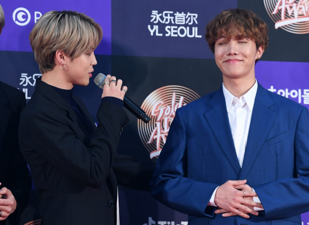 Jimin and J-Hope of BTS arrive at the photo call