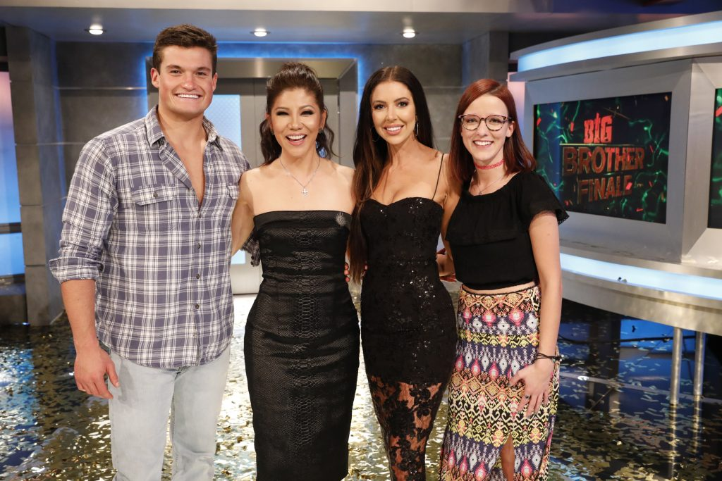 Jackson Michie, Host Julie Chen Moonves, Holly Allen and Nicole Anthony on 'Big Brother' on the season finale