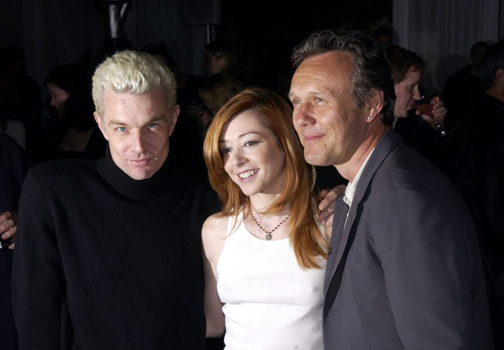 James Marsters (L), Alyson Hannigan, and Anthony Stewart Head at the 'Buffy the Vampire Slayer' wrap party
