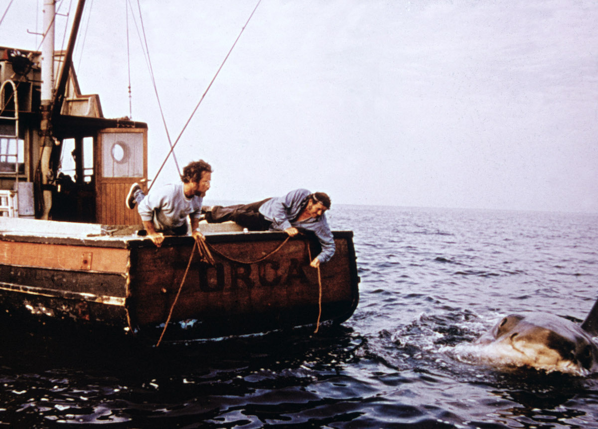 Richard Dreyfuss (L) and Robert Shaw (1927 - 1978) hold ropes while leaning off the back of their boat, 'Orca,' in pursuit of the giant Great White shark in a still from the film, 'Jaws,' directed by Steven Spielberg, 1975