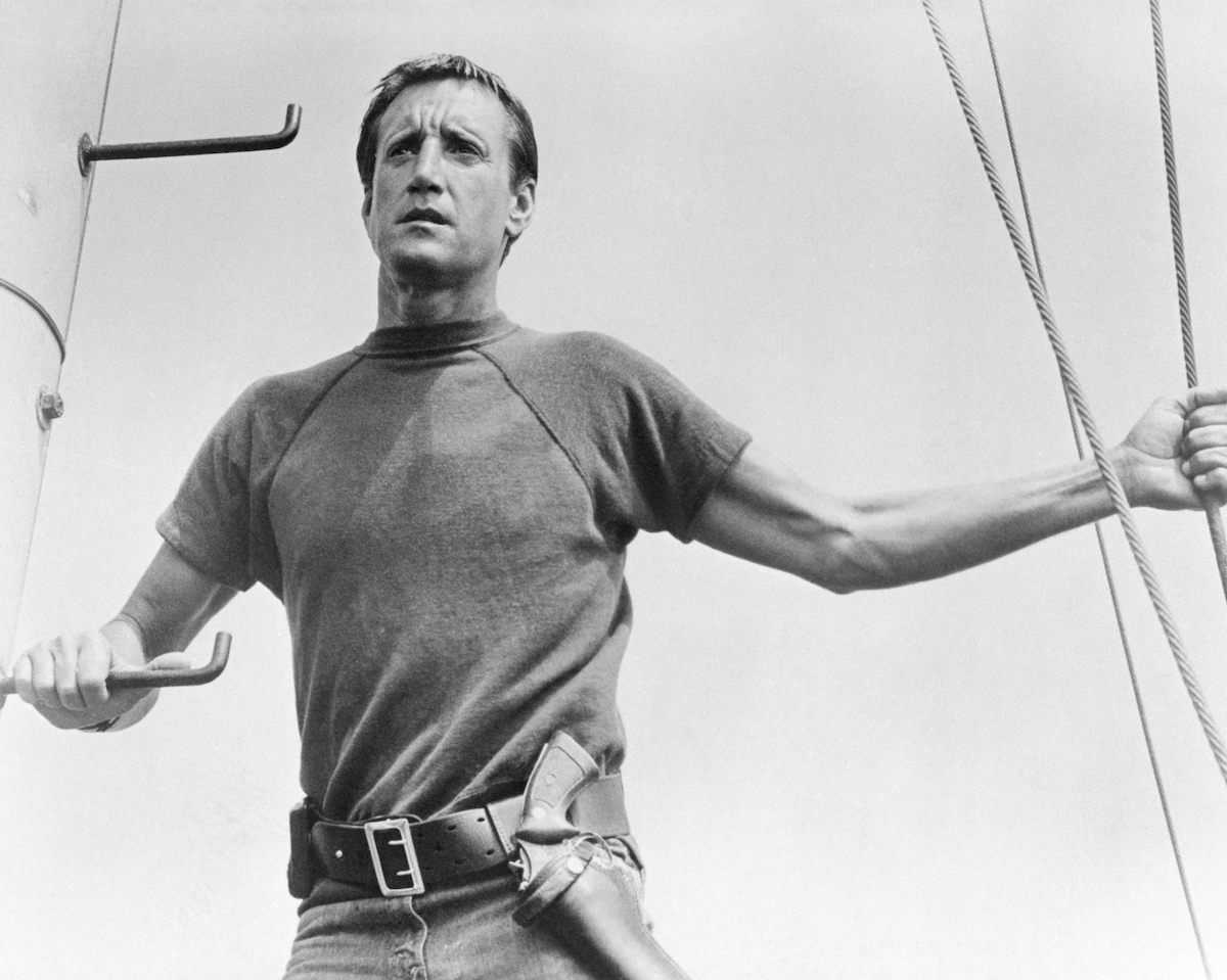 Roy Scheider stars as the police chief of a small resort community who must hunt down and kill a marauding, man-eating Great White Shark in 'Jaws'
