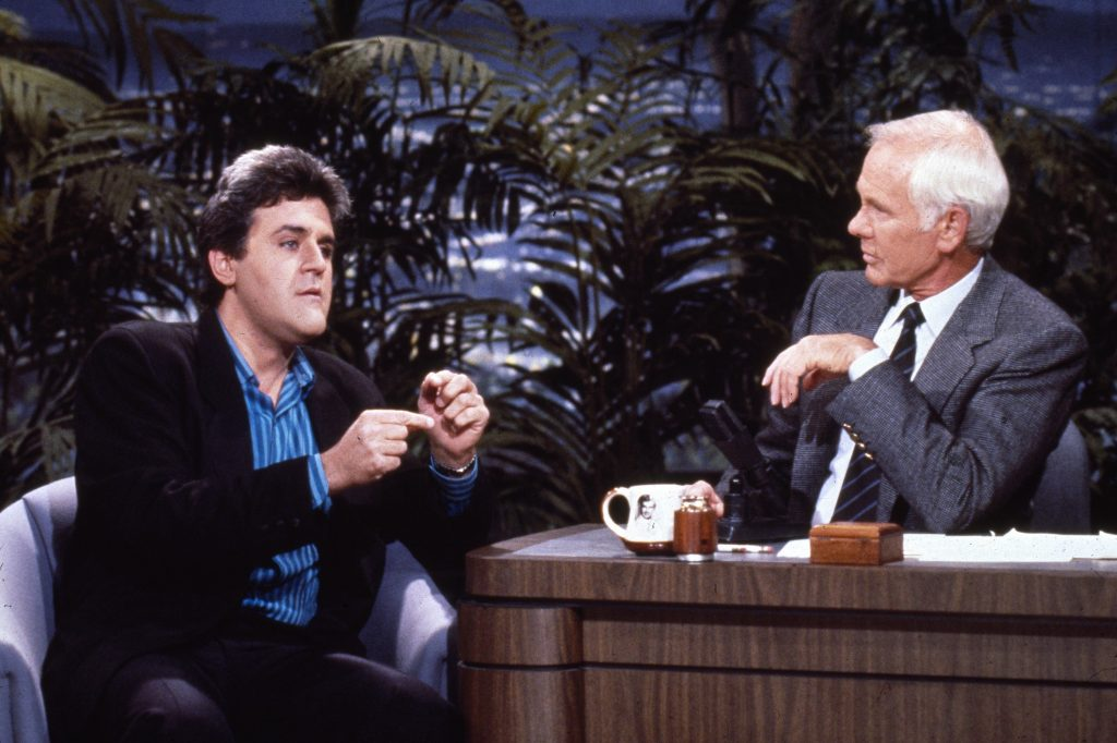 Jay Leno getting interviewed by Johnny Carson