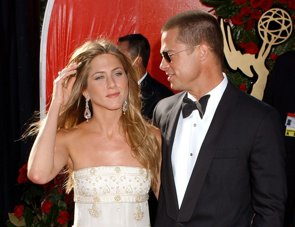 Jennifer Aniston and Brad Pitt during The 56th Annual Primetime Emmy Awards