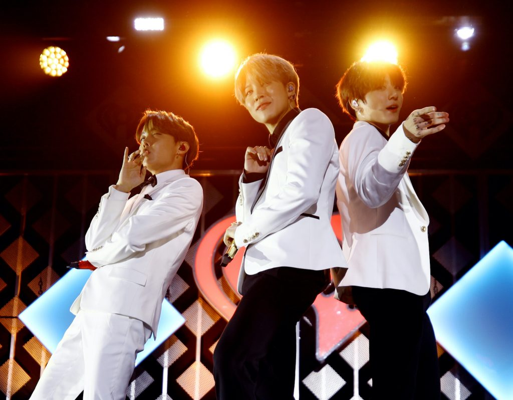 J-Hope, Jimin, and Jungkook of BTS perform onstage during 102.7 KIIS FM's Jingle Ball 2019