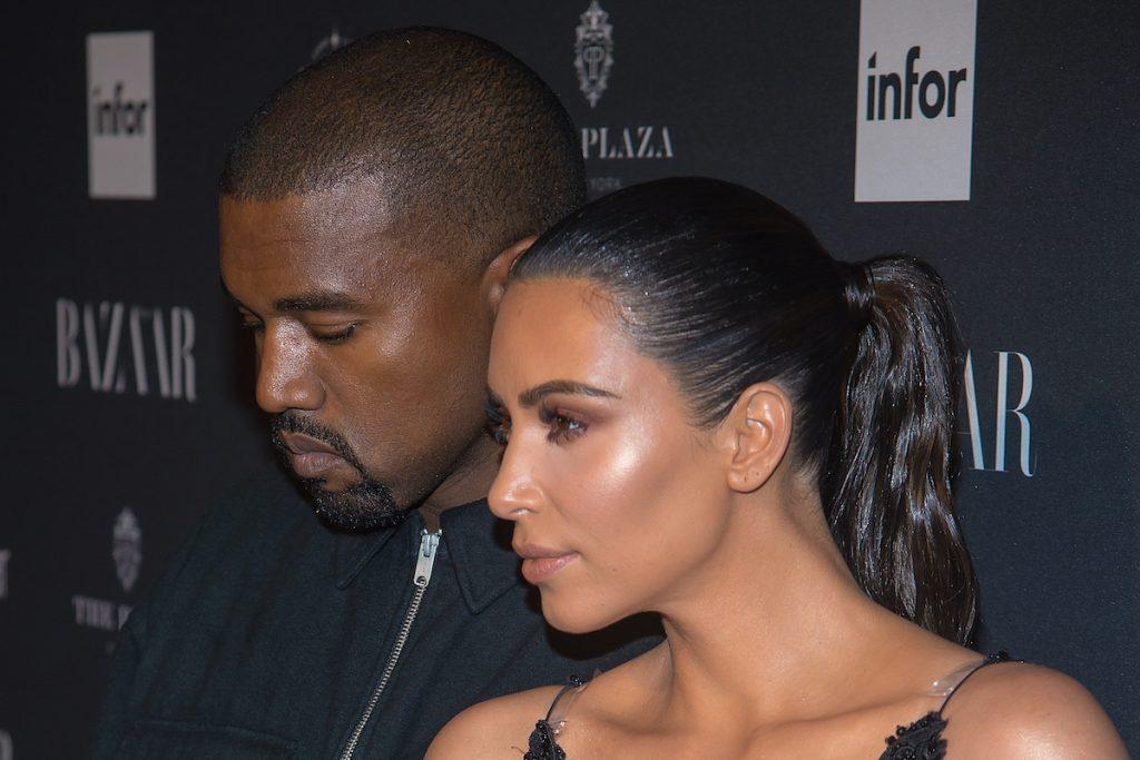 Kanye and Kim Kardashian West at an event