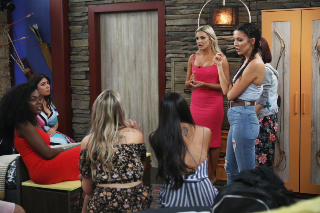 Jessica Milagros, Kemi Fakunle, Kathryn Dunn, and Holly Allen in the Big Brother House