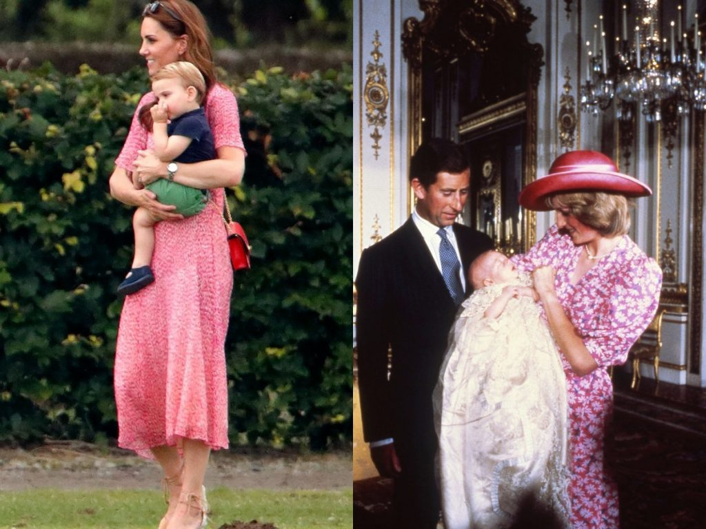 Kate Middleton wearing pink florals while holding Prince George; Princess Diana wearing pink florals while holding Prince William