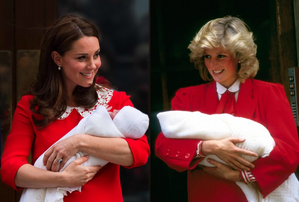 Kate Middleton channels Princess Diana after giving birth to her second son, Prince Louis; Princess Diana, right, on the steps of St. Mary's Hospital with her second son, Prince Harry