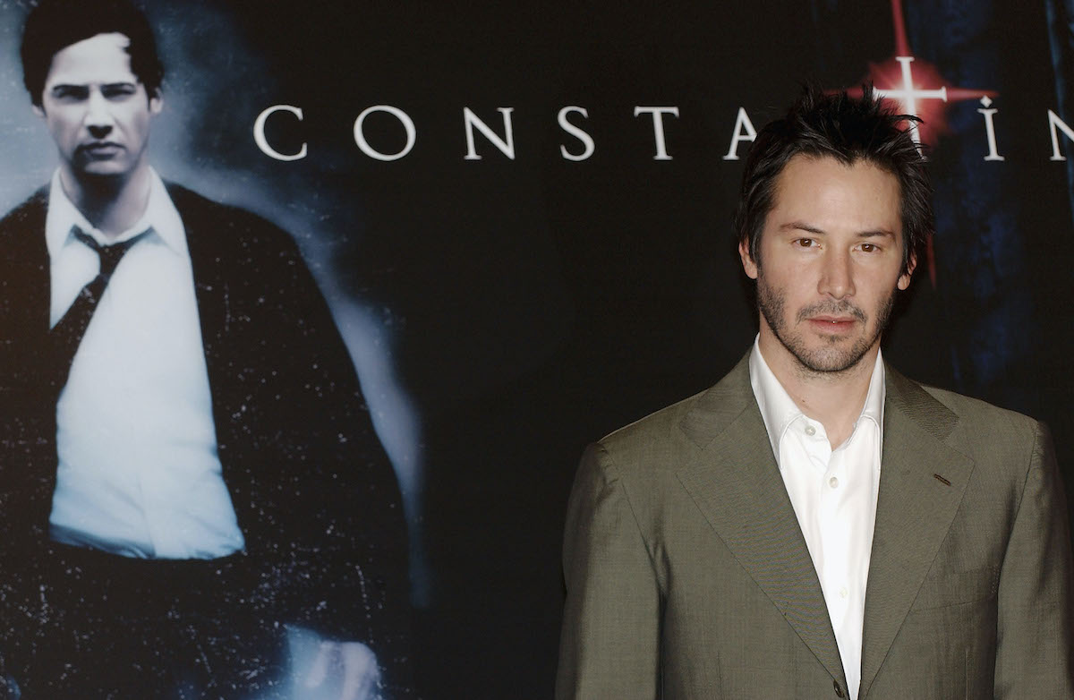 Keanu Reeves at a photocall for 'Constantine'