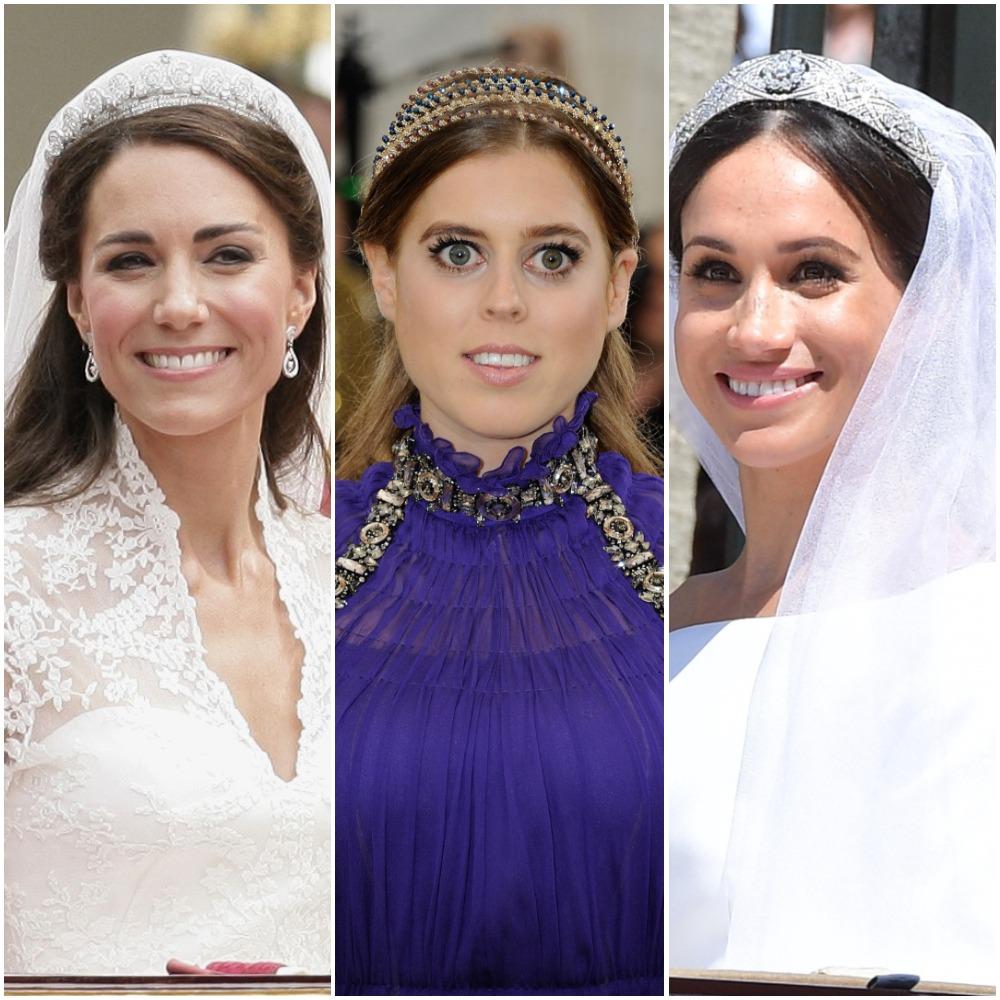(L) Kate Middleton, (C) Princess Beatrice, (R) Meghan Markle