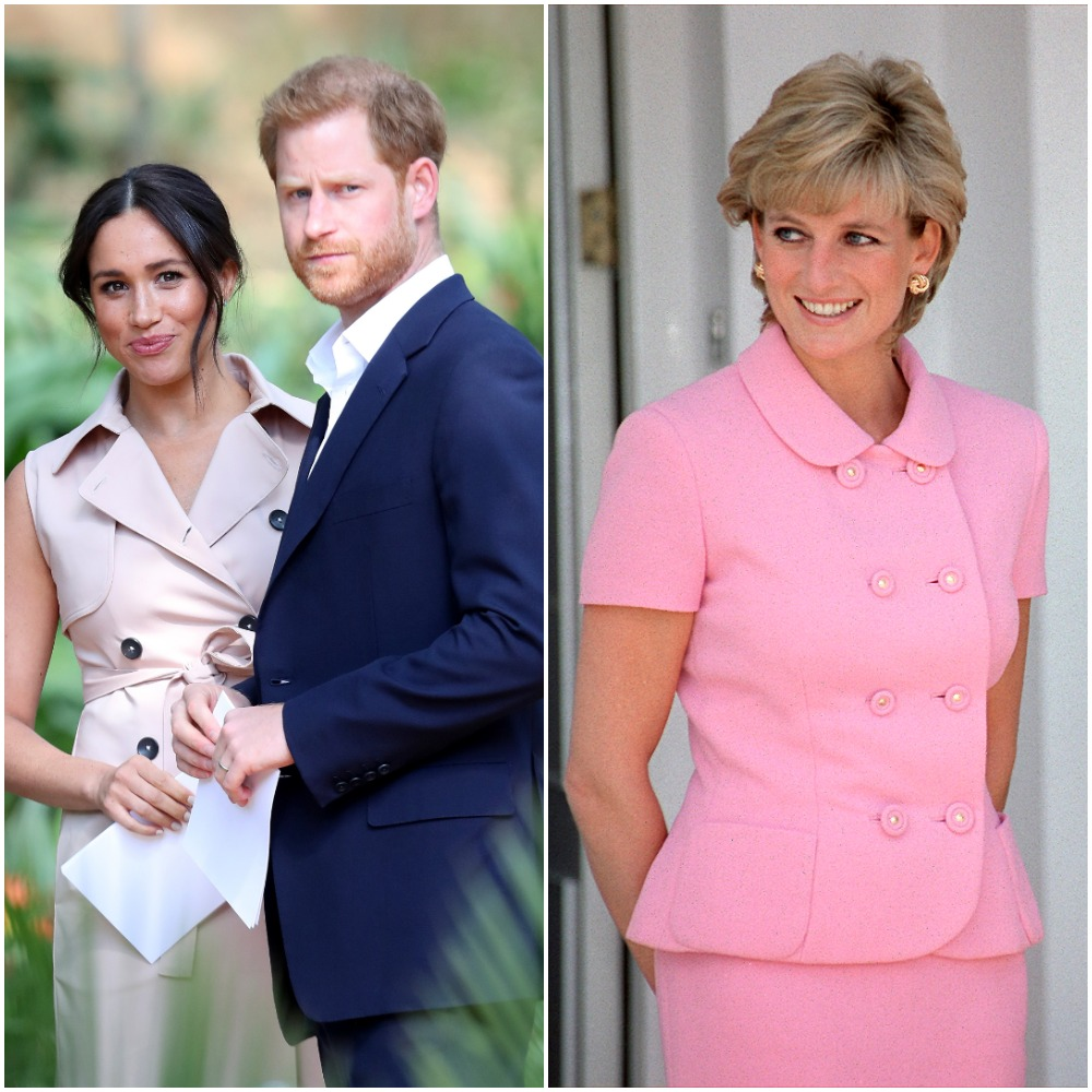 (L) Meghan Markle and Prince Harry, (R) Princess Diana