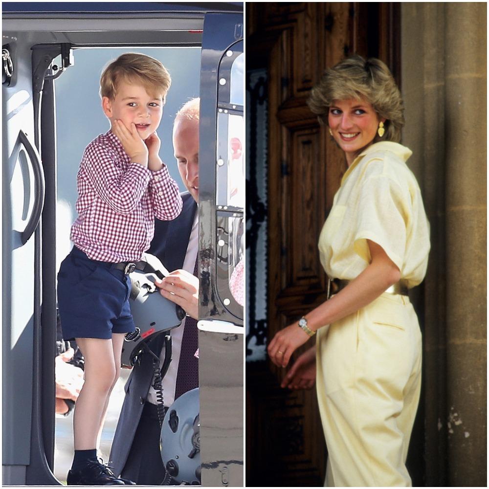 (L) Prince George, (R) Princess Diana