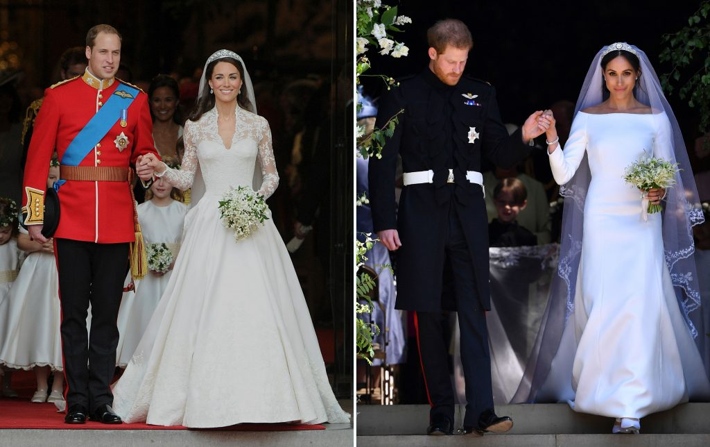 (L) Prince William and Kate Middleton's wedding, (R) Prince Harry and Meghan Markle's wedding