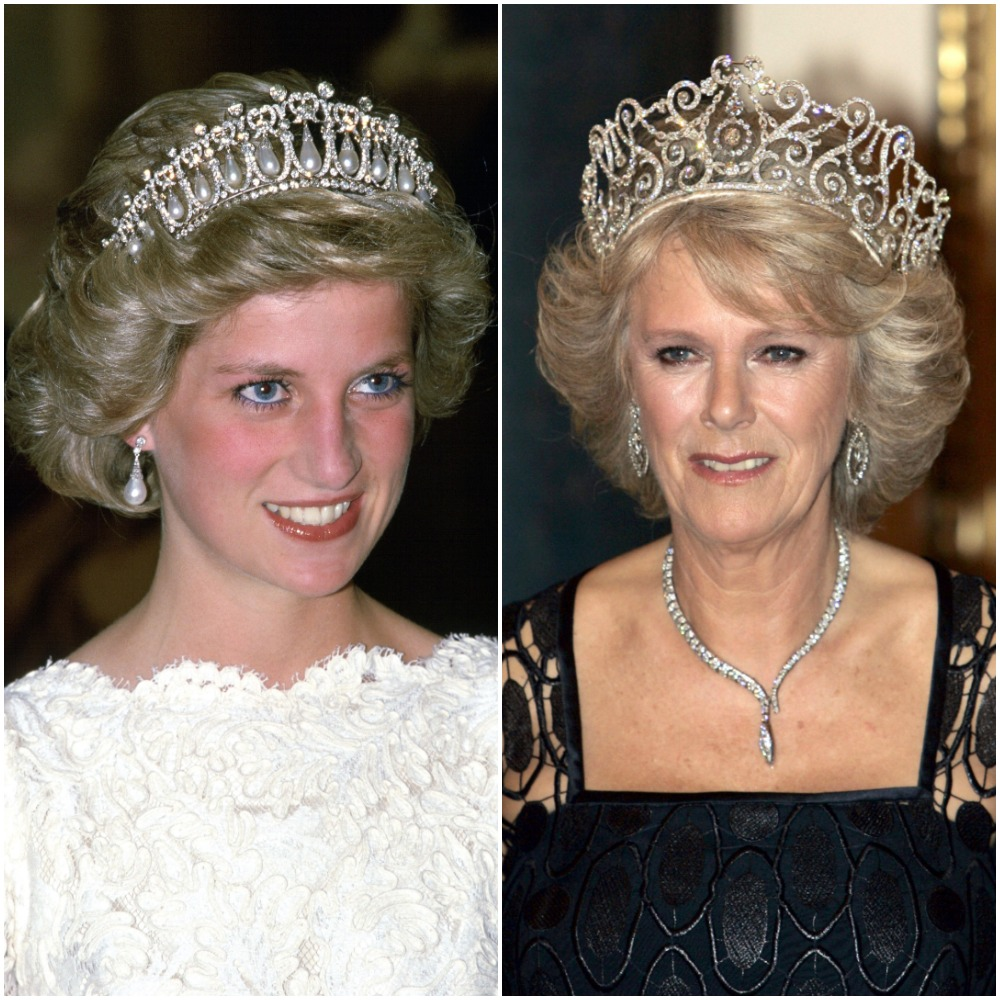 (L) Princess Diana, (R) Camilla Parker Bowles