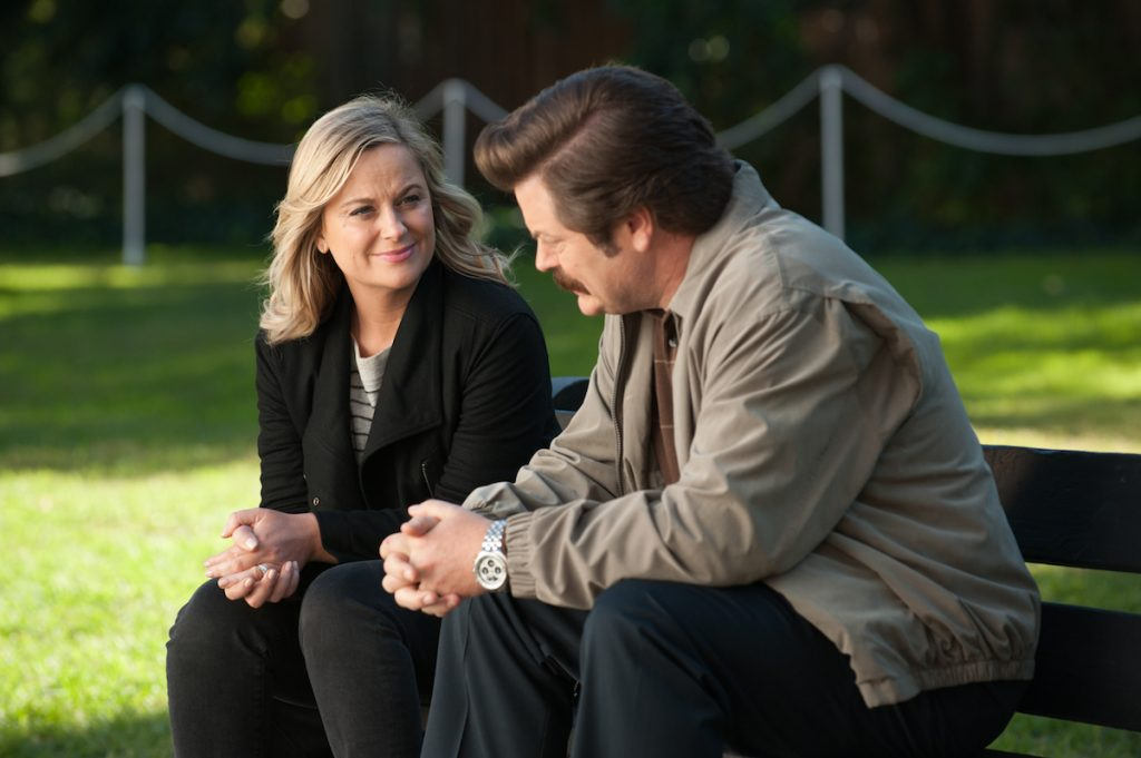 Leslie Knope (Amy Poehler) and Ron Swanson (Nick Offerman)