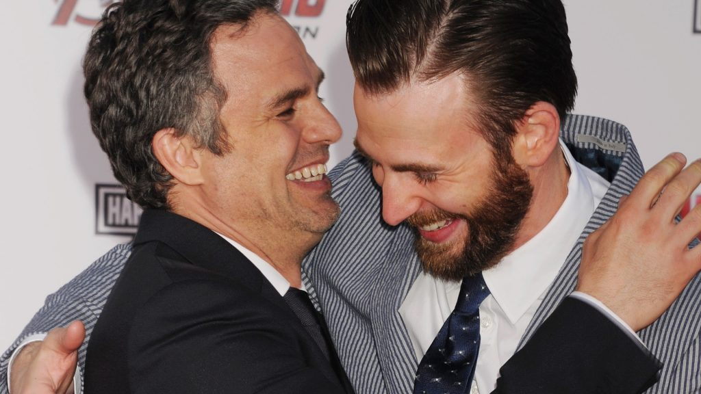 Actors Mark Ruffalo (L) and Chris Evans arrive at the Marvel's 'Avengers: Age Of Ultron' - Los Angeles Premiere at Dolby Theatre on April 13, 2015 in Hollywood, California.