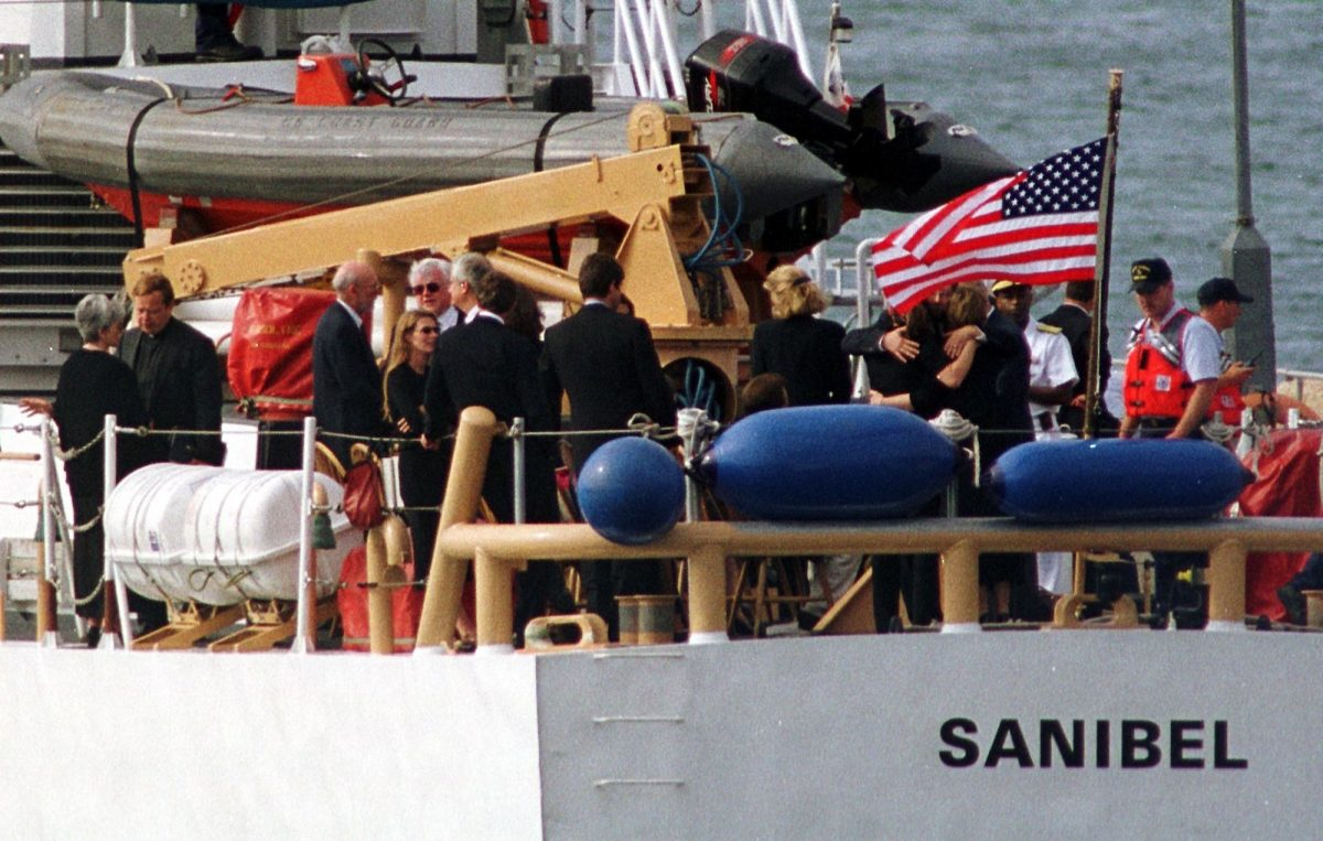Members of the Bessette and Kennedy families gather for burial at sea of John F. Kennedy Jr., Carolyn Bessette, and Lauren Bessette