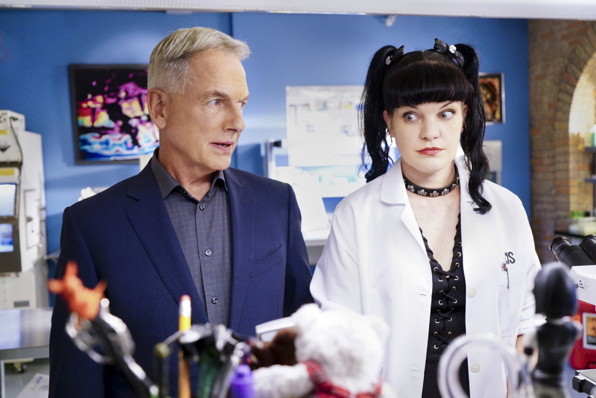 Mark Harmon and Pauley Perrette on the set of 'NCIS