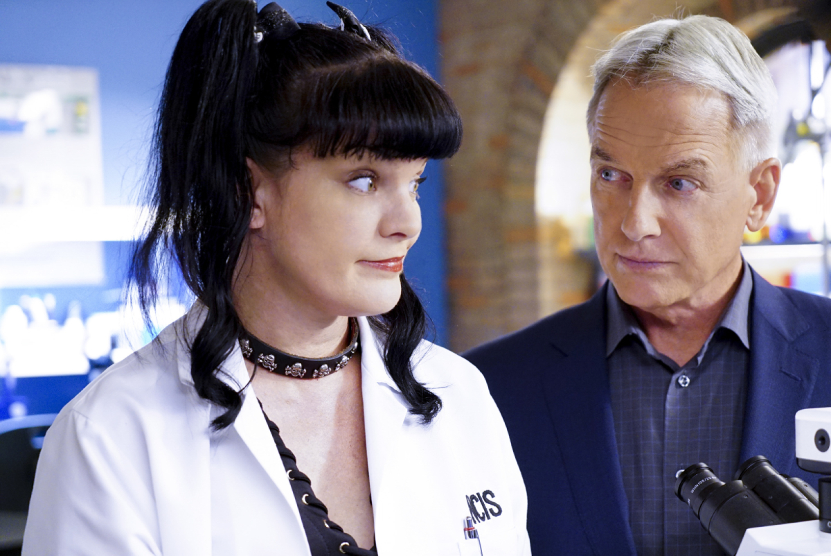 'NCIS' stars Pauley Perrette and Mark Harmon on the set of the hit tv show in 2016