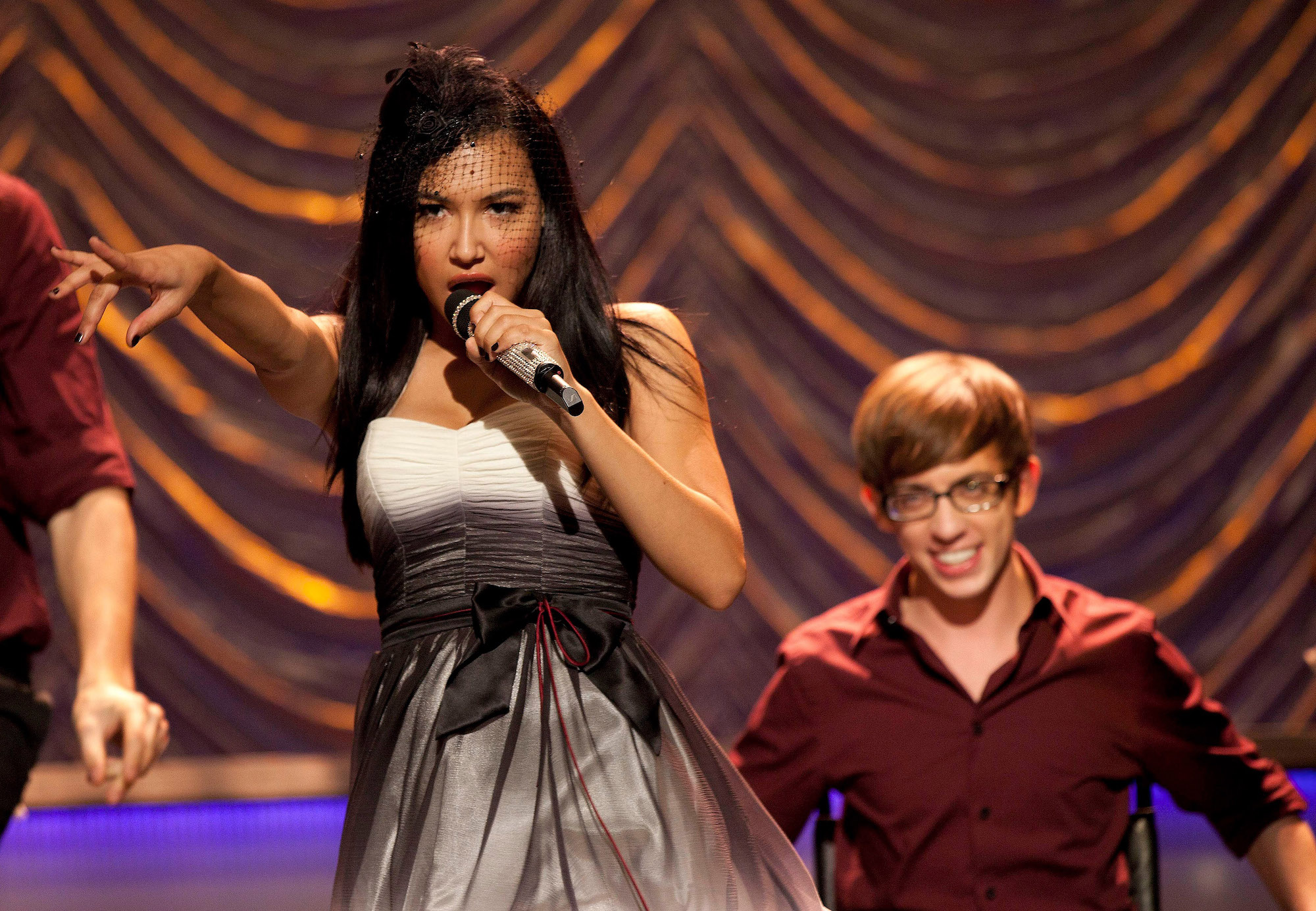 """Naya Rivera as Santana during Season 2 of 'Glee' as the New Directions perform at Sectionals in the """"Special Education"""" episode."""
