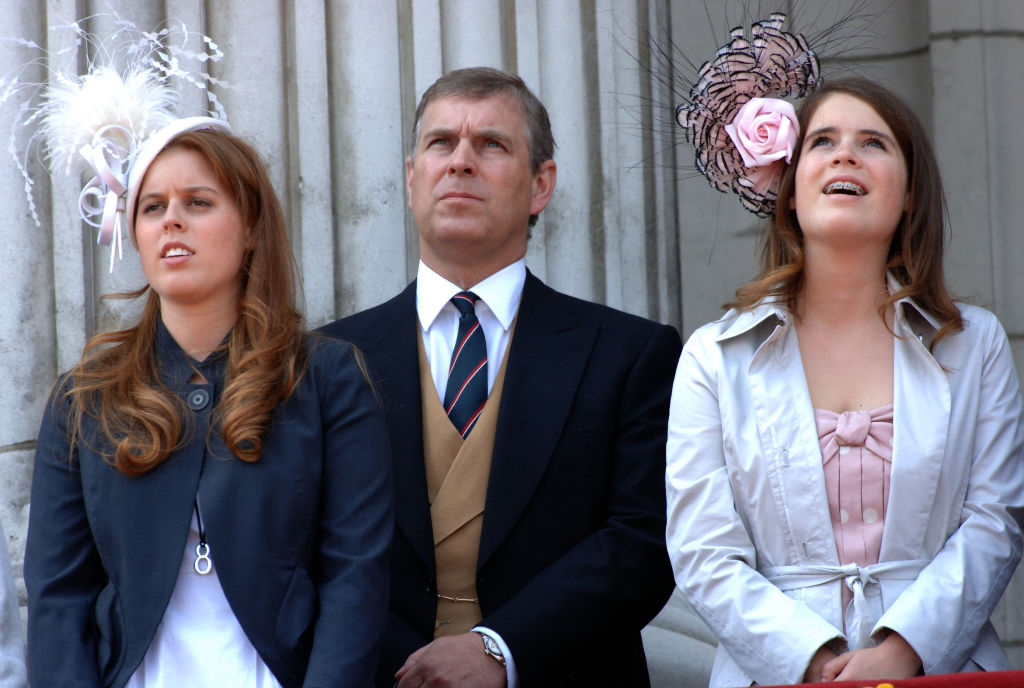 Prince Andrew and Princess Beatrice and Princess Eugenie
