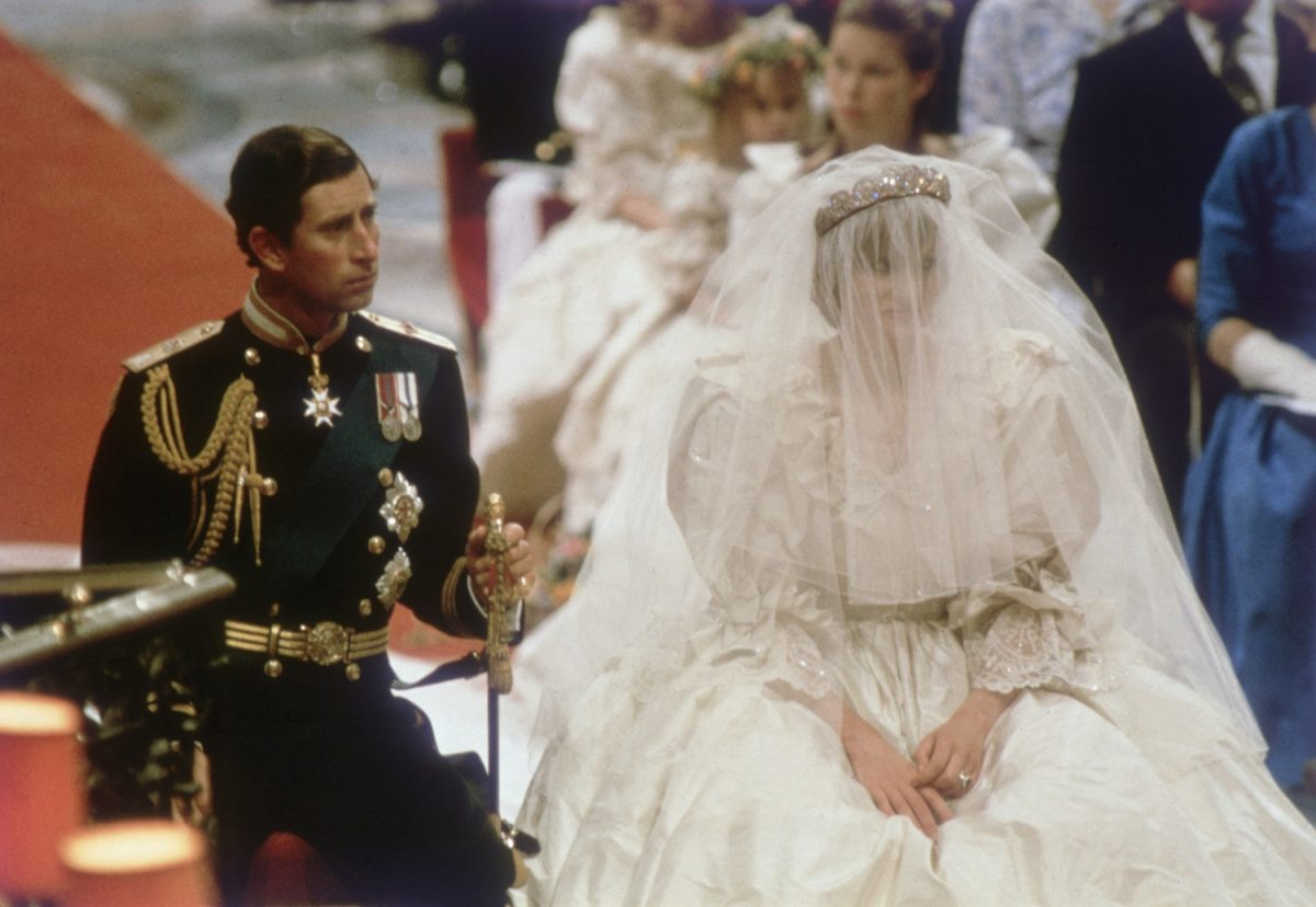Prince Charles and Princess Diana at the altar during their royal wedding ceremony