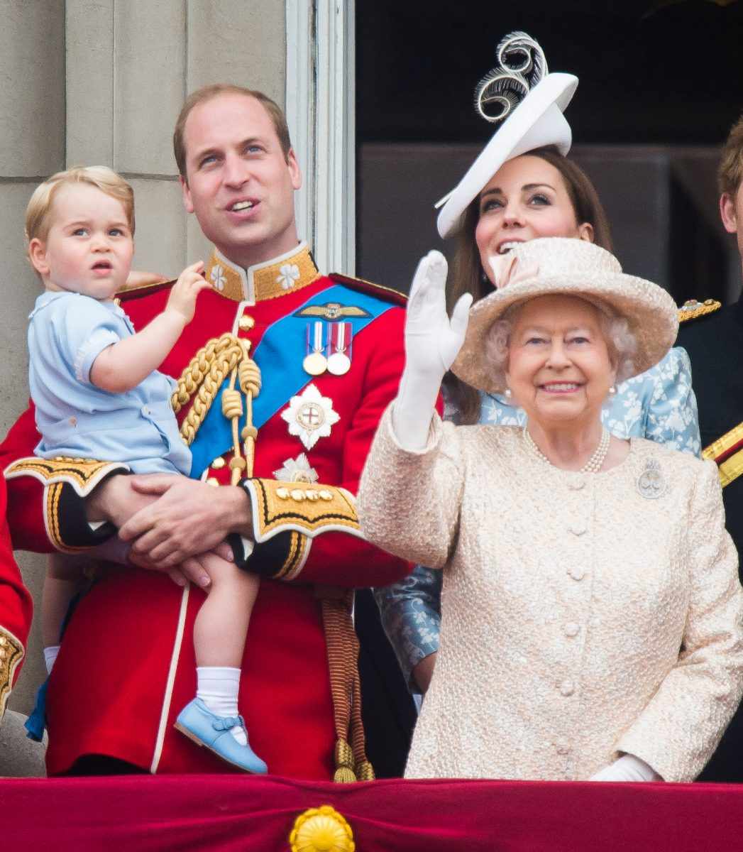 Prince William, Kate Middleton, Prince George, and Queen Elizabeth II at 2015 Trooping the Colour