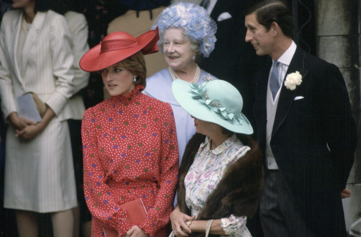 Princess Diana, Princess Margaret, Prince Charles, and the Queen Mother attend a wedding