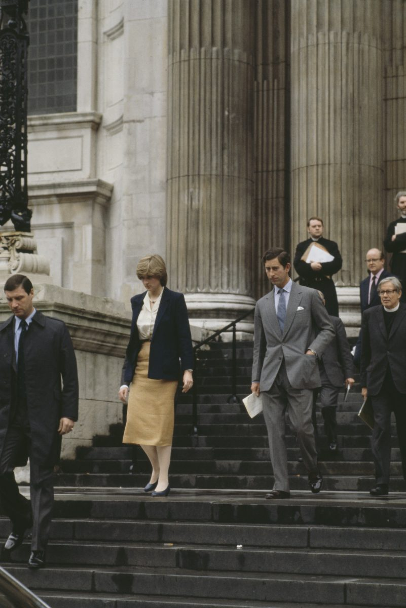 Princess Diana and Prince Charles leave St. Paul's Cathedral after a wedding rehearsal