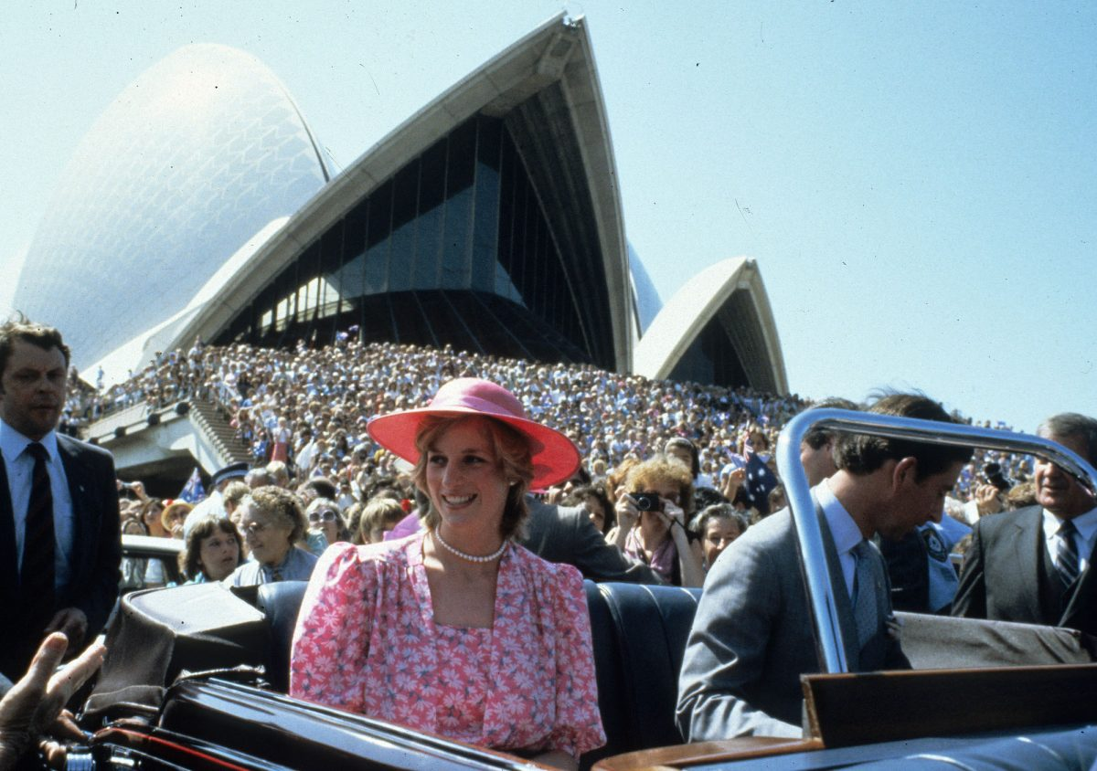 Princess Diana and Prince Charles in a car outside the Sydney Opera House