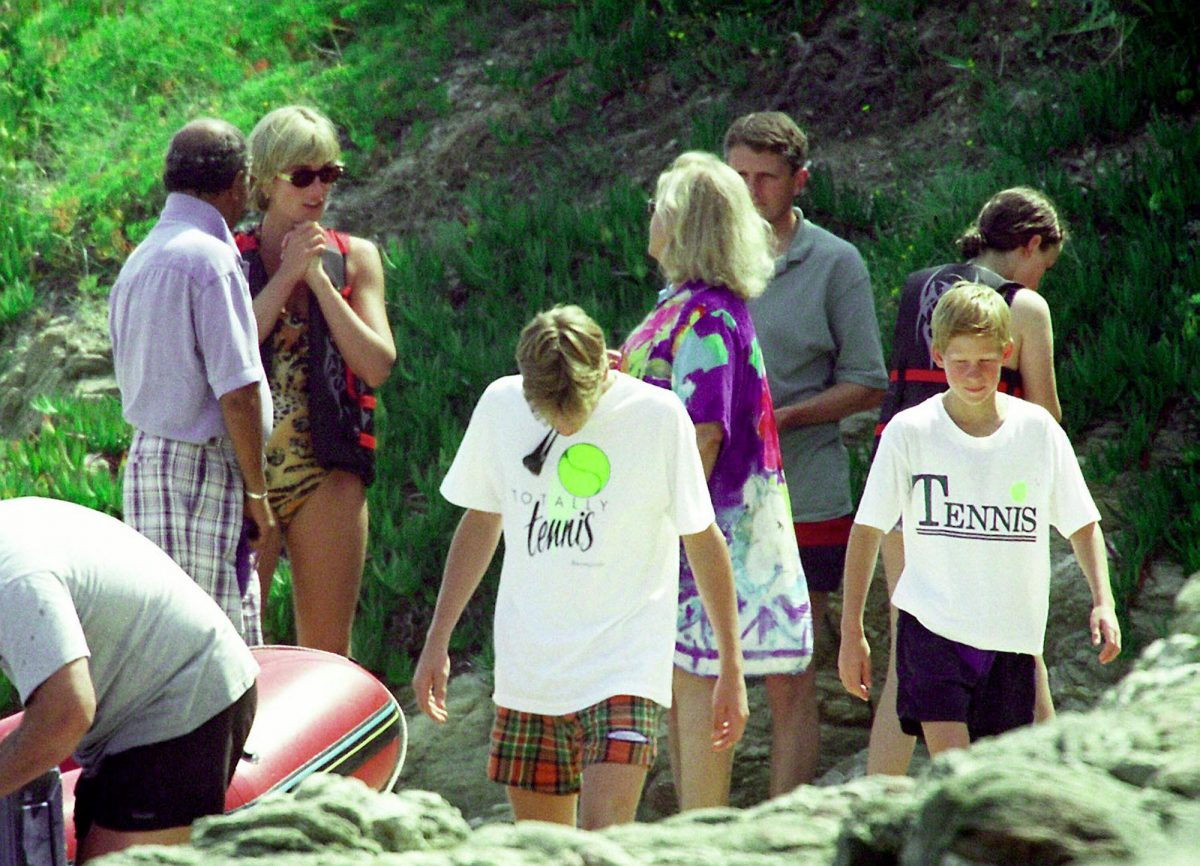 Princess Diana in St. Tropez with Prince William and Prince Harry