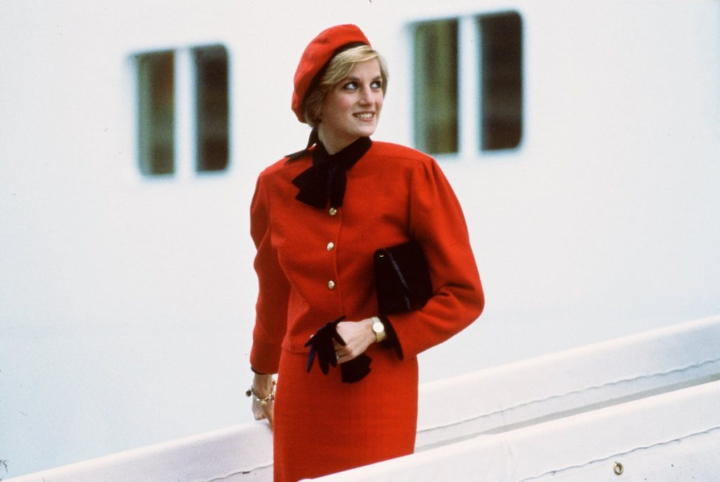 "Diana, Princess of Wales wears a charm bracelet aboard the new P&O cruise liner ""Royal Princess"", named in honour of her, after giving the ship its name at a formal naming ceremony"