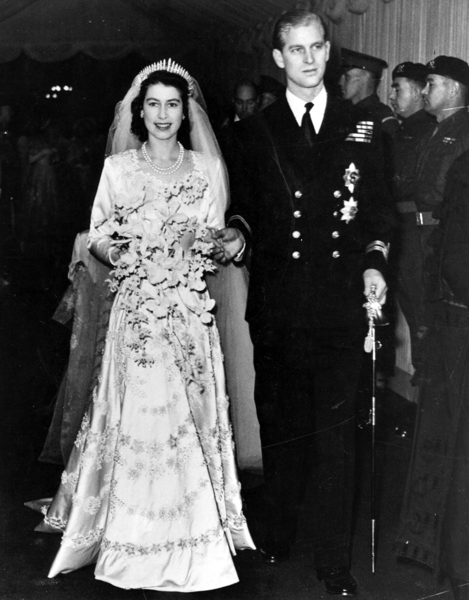 Queen Elizabeth II and Prince Philip on their wedding day