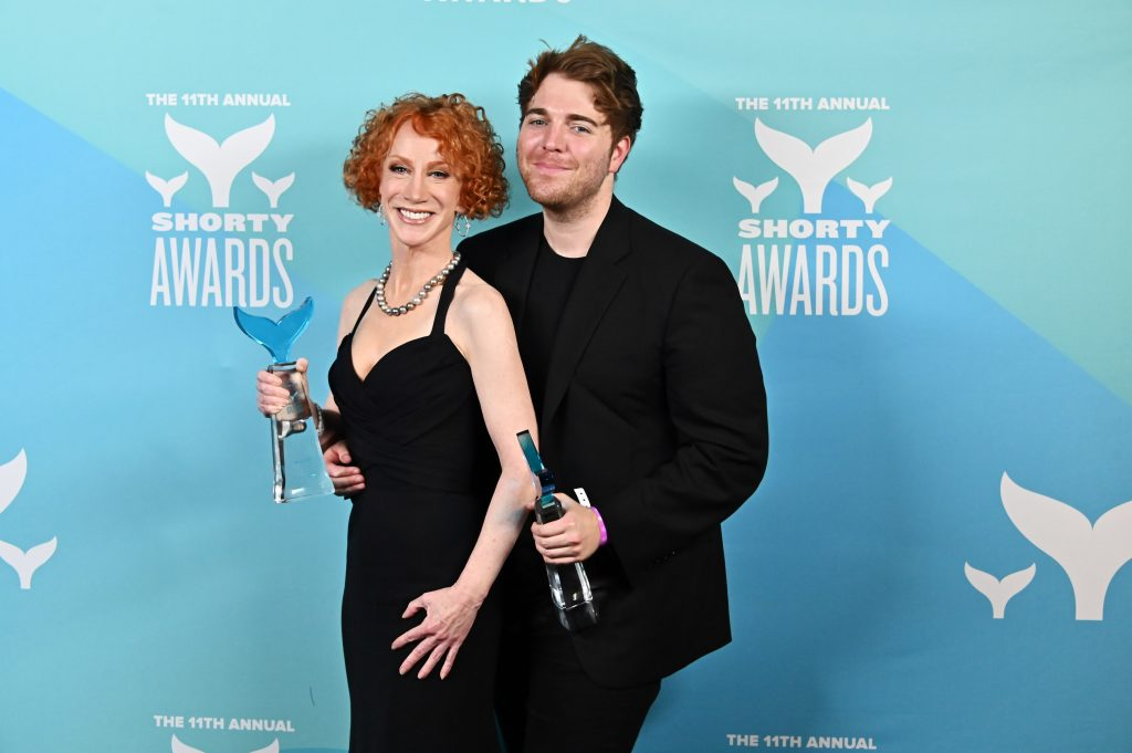 Kathy Griffin and Shane Dawson pose backstage in the Winner's Cave during the 11th Annual Shorty Awards