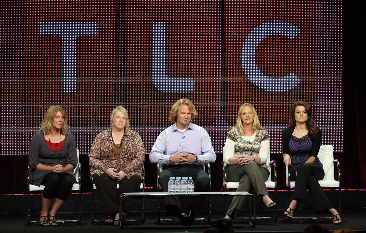 Meri Brwon, Janelle Brown, Kody Brown, Christine Brown and Robyn Brown speak during a panel in 2010
