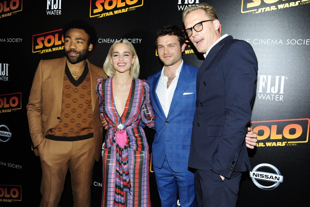 Donald Glover, Emilia Clarke, Alden Ehrenreich, and Paul Bettany of 'Solo: A Star Wars Story'