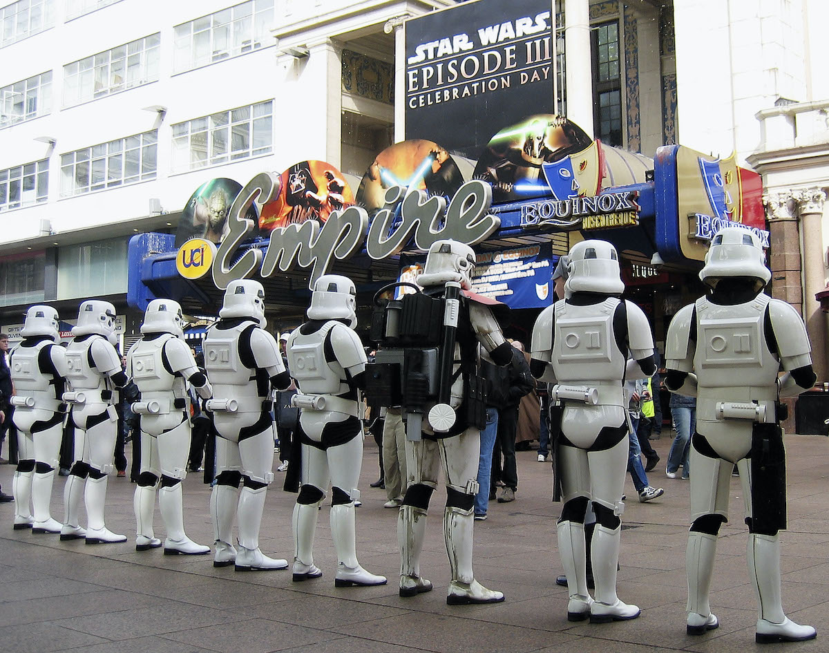 Stormtroopers at the London premiere of 'Star Wars: Revenge of the Sith'
