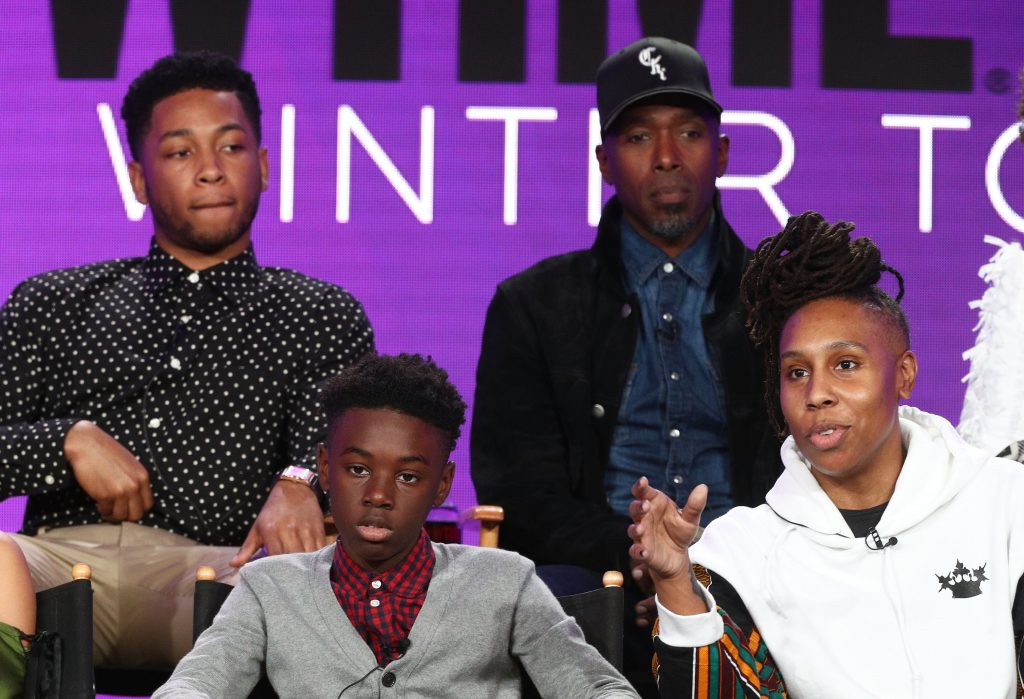 Actors Jacob Latimore, Ntare Guma Mbaho Mwine, (l-r, front row) actor Alex Hibbert and creator/executive producer and writer Lena Waithe of the television show The Chi speak onstage during the CBS/Showtime portion of the 2018 Winter Television Critics Association Press Tour