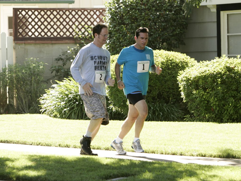 Rain Wilson and Steve Carell filming a scene from 'The Office