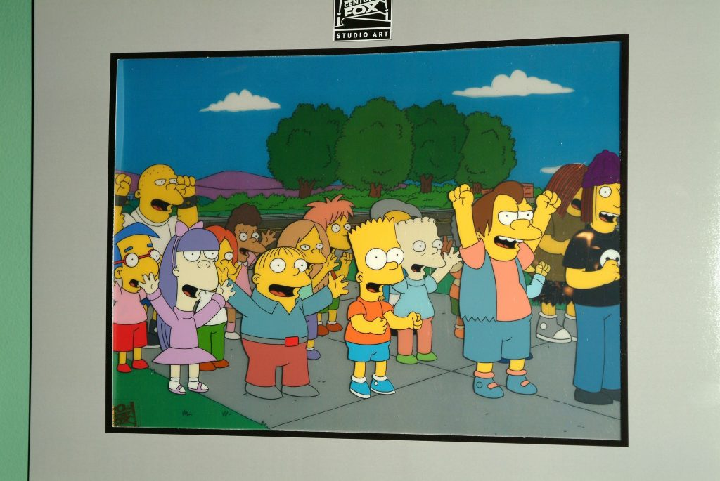 Original animation cels from 'The Simpsons' on display